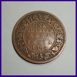 1862 One Quarter Anna - Victoria Queen British India Coin