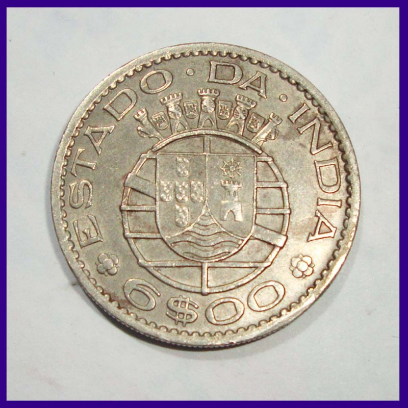 Portuguese 6 Escudo 1959 Estado Da India Coin