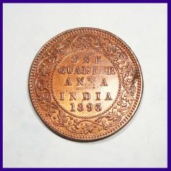 1893 One Quarter Anna - Victoria Empress British India Coin