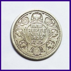 1922 Half (1/2) Rupee George V British India Silver Coin