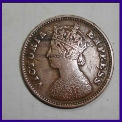 Ghost Error 1899 Victoria Empress 1/2 Pice - British India Coin