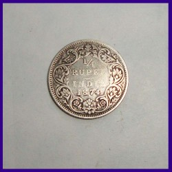 1874 Calcutta Mint 1/4 Rupee Victoria Queen Silver Coin