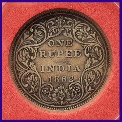 1862 Error A/II 0/7 Dots Certified Victoria Queen One Rupee Double Struck Silver Coin