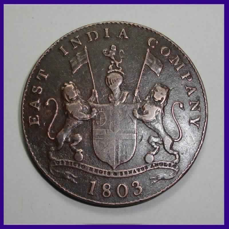 1803, Madras Presidency, XX Cash, East India Company Copper Coin