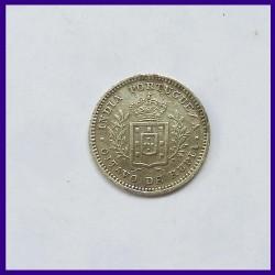 1881 Oitavo De Rupia, Portuguese India, Luiz I, Silver Coin