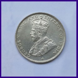 1921 UNC 50 Cents Straits Settlements George V King Silver Coin