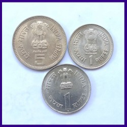 Nehru Set of 3 Different Coins - Republic India Coinage