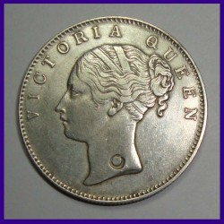 1840 Victoria Queen 1 Rupee Silver Coin - With Test Mark