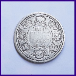 1922 Half (1/2) Rupee Calcutta Mint George V Silver Coin