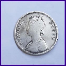 1862 A/II 0/6 Dots Victoria Queen One Rupee Silver Coin - British India