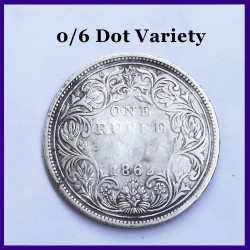 1862 A/II 0/6 Dots Victoria Queen One Rupee Silver Coin - British India