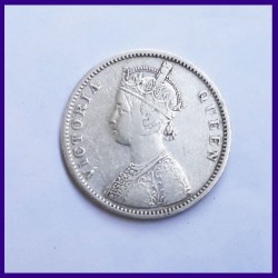 1862 A/II 0/7 Dots Victoria Queen One Rupee Silver Coin - British India
