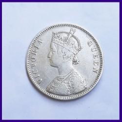 1862 Error 0/6 Dots Victoria Queen One Rupee Silver Coin - British India