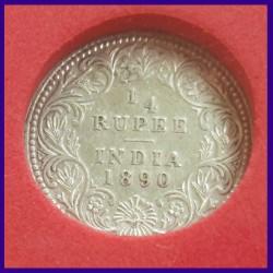 1890 Certified Quarter (1/4) Silver Rupee, Victoria Empress, British India Coin