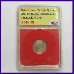 1862 Certified 1/4 Rupee Victoria Queen Silver Coin, British India