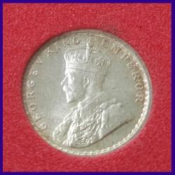 1919 Certified MS 1/4 (Quarter) Rupee George V Calcutta Mint British India Coin