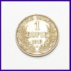 1913 German East Africa 1 Rupie, Guilelmus II Silver Coin