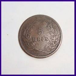 1890 Portugal 5 Reis Carlos I Bronze Coin