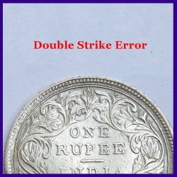 1862 Error B/II 0/0 Double Struck Victoria Queen One Rupee Silver Coin
