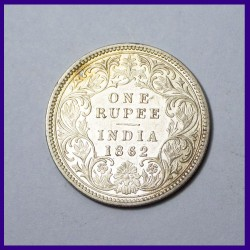 AUNC 1862 A/I No Dots Victoria Queen One Rupee Silver Coin - British India