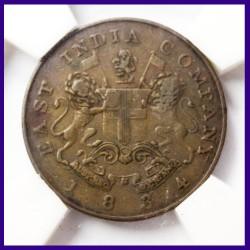1834 Certified Half (1/2) Anna Tarazu Coin East India Company Copper Coin