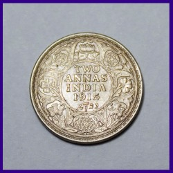 1915 AUNC Two Annas Silver Coin George V King British India