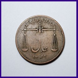 1834 Bombay Presidency Half (1/2) Anna - Tarazu Coin East India Company