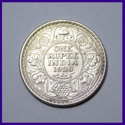 1920 One Rupee Silver Coin - George V King - British India