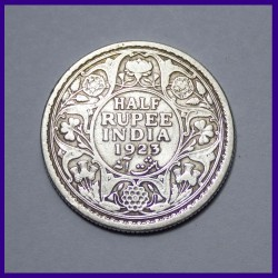 1923 Half Rupee George V British India Silver Coin