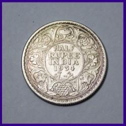1934 Half Rupee George V Silver Coin
