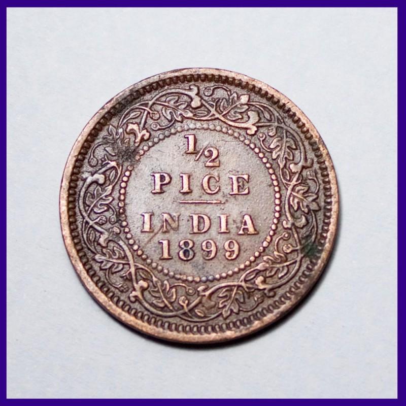1899 Half (1/2) Pice Victoria Empress British India Coin