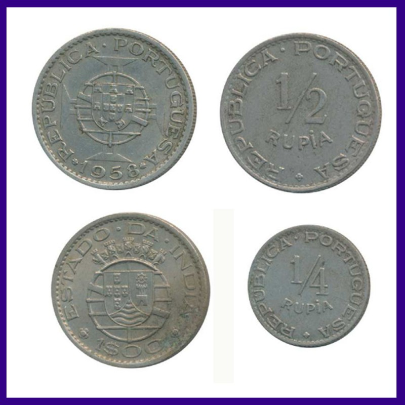 Set of 4 Portuguese India 1947 & 1958 Coins
