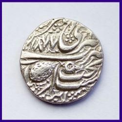 1877 Sikh Nanakshahi Couplet Amritsar Mint One Rupee Silver Coin