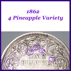 1862 Victoria Queen, Pineapple, A-II No Dot, One Rupee Silver Coin