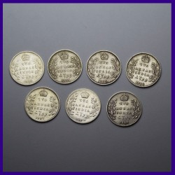 Set of 7 Different Years Two Anna Silver Coin Edward VII British India