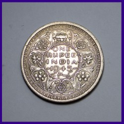1945 One Rupee George VI King, British India Silver Coin
