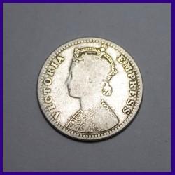 1889 Quarter Rupee Victoria Empress British India Silver Coin