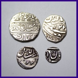Jaisalmer Full Set Of 4 Coins - 1 Re, 1/2 Re, 1/4 Re, and 1/8 Rupee Silver Coins