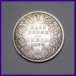 1893 Victoria Empress Half Rupee - Silver Coin - British India