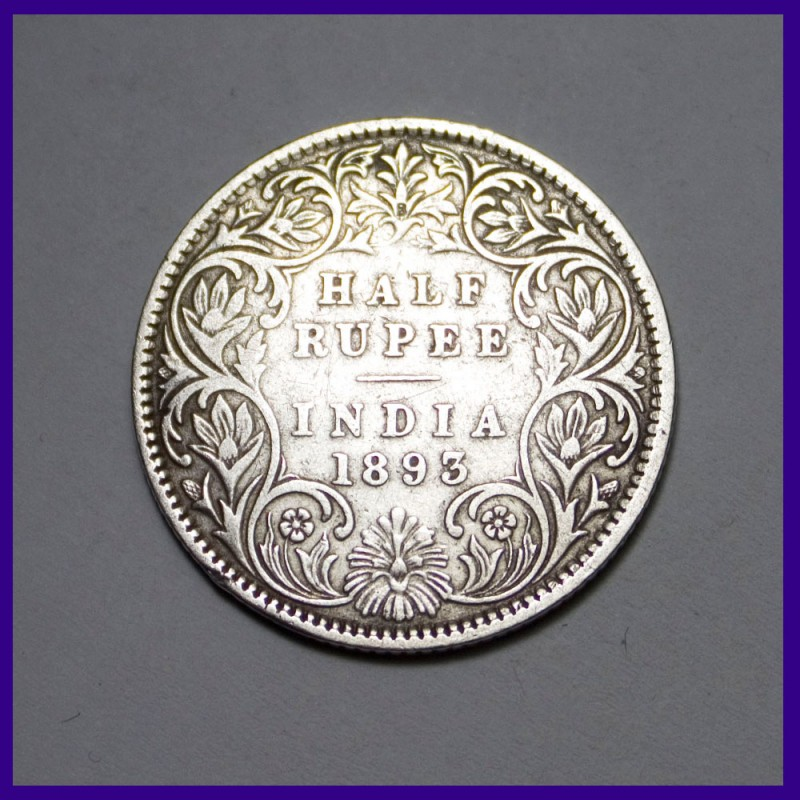 1893 Victoria Empress Half Rupee - Silver Coin - British India