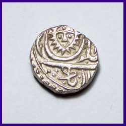 Indore 1/2 Rupee Malharnagar Sunface With Dot - Silver Coin