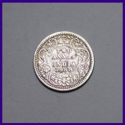 1888 Two Annas, Victoria Empress Silver Coin, British India