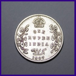 1907 One Rupee Bombay Mint, Edward VII King, British India Silver Coin
