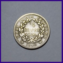 1840 Continuous Legends 1/4 (Quarter) Rupee Victoria Queen Silver Coin - East India Company