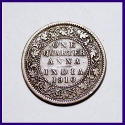 1910 One Quarter Anna Edward VII British India Coin