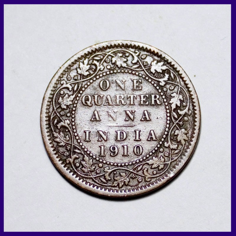 1910 One Quarter Anna Edward VII British India Coin