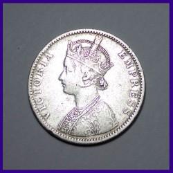 1888, C/1 One Rupee Victoria Empress Silver Coin - British India