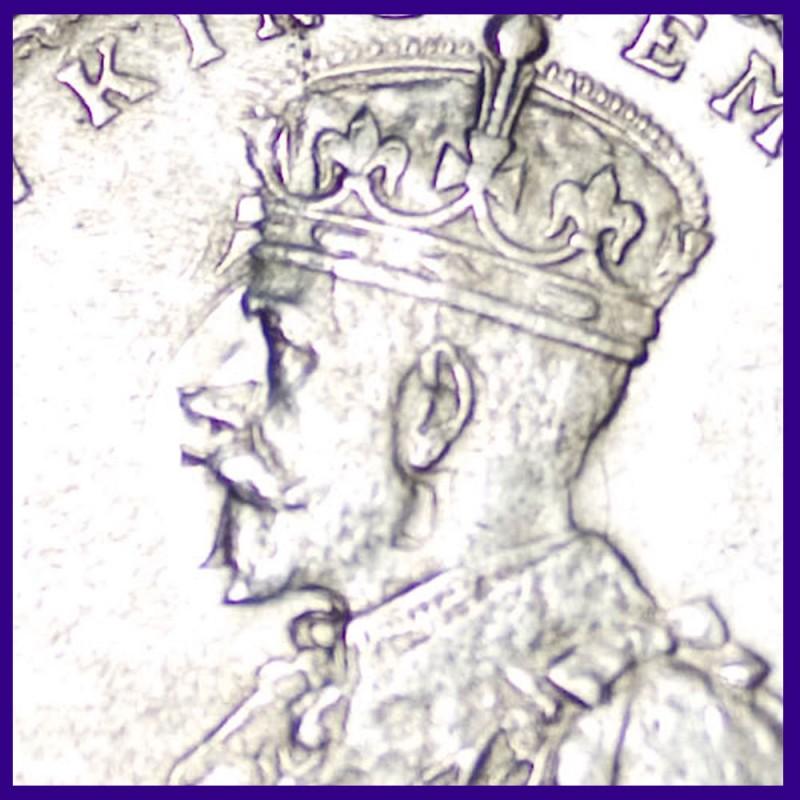 Error 1916 One Rupee George V British India Silver Coin