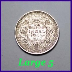 1945 Large 5 George VI 1/4 Rupee Silver Coin, British India