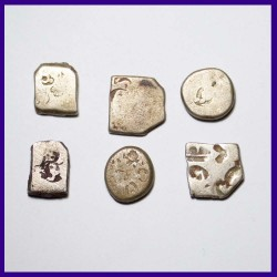 Set of 6 Punchmarked Magadha Mauryan Silver Ancient India Coin